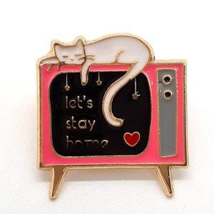 Let's Stay Home Pin Badge Brooch